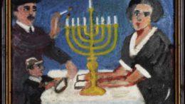 Robert Guttmann: Zapalováníětel chanukových světelsvetel 1941
